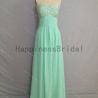 Mint sweetheart chiffon prom dress with beads,prom dress,floor length dress 2014,chiffon prom dress,long evening dress,real formal dress