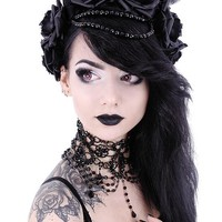 Restyle Gothic Dark Side Romance Evil Queen Horns and Black Roses Headband