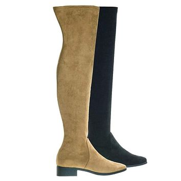 Play04 Over-The-Knee Thigh High Boots w Low Block Heel & Inner Zipper