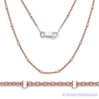 925 Sterling Silver 14k Rose Gold-Plated 1.9mm Bead & 1.3mm Cable Chain Necklace