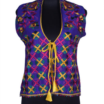 Hand Embroidered Silk Phulkari Vest Free-size Jacket with Silk Antique Thread-work