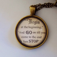 Begin At The Beginning Necklace. Alice in Wonderland Necklace. 18 Inch Chain.