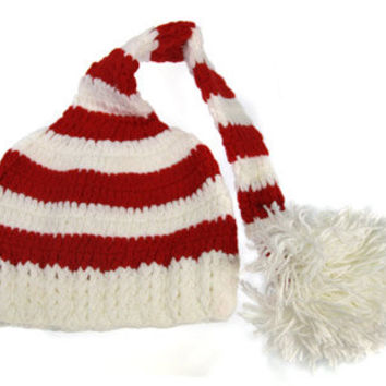 Red & White Stripe Elf Crochet Hat - Almost sold out!