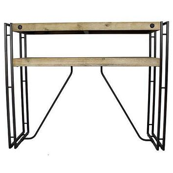 "39'.5"" X 14"" X 31'.5"" Natural Acacia Wood And Steel Console Table with  Drawers"