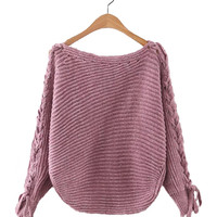 Boat Neck Sweater with Batwing Sleeves