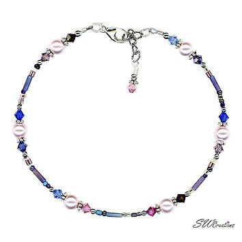 Winter Rose Beaded Pearl Anklet