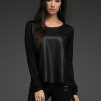Faux Leather & Knit Pullover