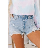Here And Now Frayed Denim Shorts (Light)