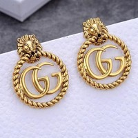 GUCCI Retro Women Stylish Lion Head Double G Pendant Earrings Jewelry Accessories