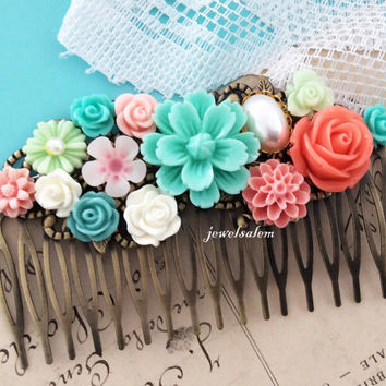 Coral Mint Green Wedding Bridal Accessories Floral Hair Comb Peach Pink Teal Blue Turquoise Aqua Flower Collage Romantic Modern Victorian