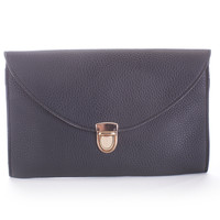 Navy Texture Faux Leather Chain Link Envelope Clutch