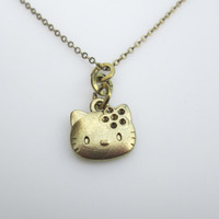 Hello Kitty Charm Necklace in Antique Gold Finish