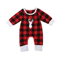 Pudcoco Christmas Plaid bebes clothes baby clothes long sleeve baby romper newborn cotton baby costume baby boys newborn clothes