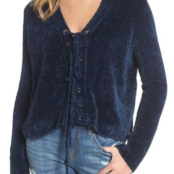 Lost + Wander Maya Chenille Lace-Up Sweater   Nordstrom