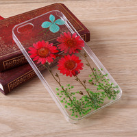 Red Daisy Lace Pressed Flower iPhone case Galaxy case 038