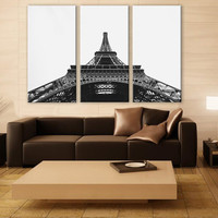 Paris Eifel Tower Canvas Print 3 Panels Print Cityscape Art Wall Deco Fine Art Photography Repro Print for Home and Office Wall Decoration