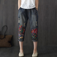 Vintage Embroidered Jeans Woman 2017 New Spring Summer Harem Jeans Women Casual Elastic Waist Denim Pants F188