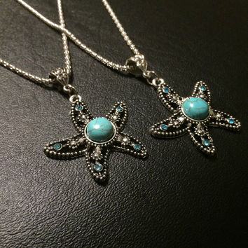 Mothers Day Gift Starfish Necklace Turquoise Beach Jewelry Bohemian Marine Boho Vintage Bead Necklace