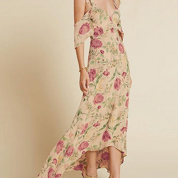 Blush Floral Cold Shoulder Cut Out Back High Low Maxi Dress