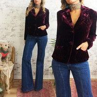 Vintage Mulberry VELVET Soft Fitted Blazer Jacket || Size Small || Size US 4 To 6