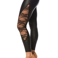 Faux Leather Leggings with Lace - Black from Casual & Day at Lucky 21 Lucky 21