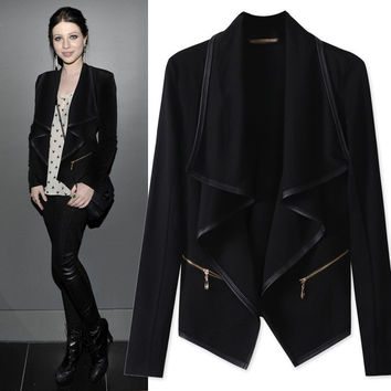 Black Open Front Turndown Collar Jacket
