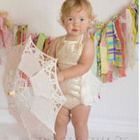 Gold Sequin petti-romper, rustic, romper, lace, ivory, baby, pettiromper set, outfit, photo, chic shabby pictures, posh, one piece, birthday