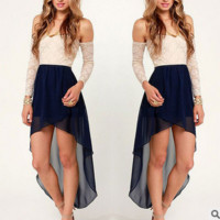 Lace shoulder after short before long a word dovetail chiffon dress