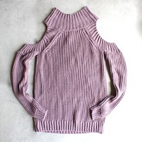 Final Sale - Cold Shoulder Knit Sweater - Lavender