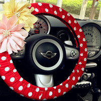 Car Steering wheel cover-Red and white Polka Dots with Chiffon Flower, Unique Automobile Accessories, Car Decor, Automobile Wheel cover