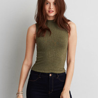 AEO FIRST ESSENTIALS MOCK NECK CROP TANK