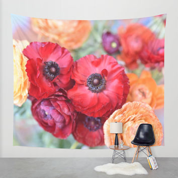 Rosey Ranunculus Wall Tapestry by Lisa Argyropoulos