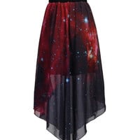 Red Galaxy Print Chiffon Pleated Asymmetrical Mini Skirt