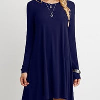 Blue Shift Dress with Crew Neck and Long Sleeves