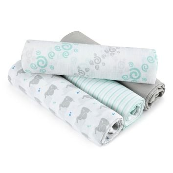 aden + anais Aden Swaddle Baby Blanket, 100% Cotton Muslin, 4 Pack, 44 X 44 inch, Baby Star - Elephants
