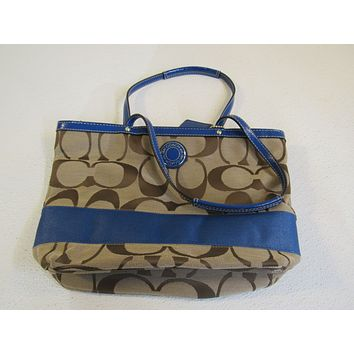 Coach Handbags Shoulder Purse Brown & Blue Tote Fabric Leather L1221-F19046 -- Used