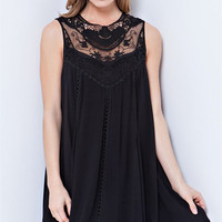Crochet Lace Flowy Dress - Black