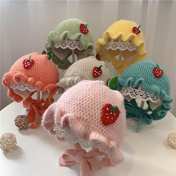 Baby Hat Autumn And Winter Lace Cute Princess Hat Newborn Baby Girl Woolen Hat Tide