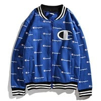 Champion Popular Women Men Retro Full Logo Print Casual Cardigan Zipper Jacket Coat Sport Baseball Coat Blue I12733-1