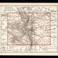 Small Colorado Map (Wall Art, Early 1900s Antique State Decor) No. 85-1