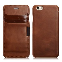iPhone 6 Case, [Magnet Closure] Retro Leather Case Cover with 3 Card Slots, Genuine Leather Flip Case For iPhone 6 4.7inch (MM518) (Brown)