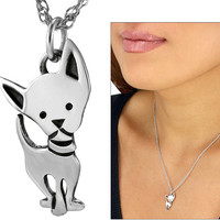 Petite Sterling Chihuahua Necklace