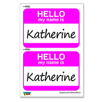 Katherine Hello My Name Is - Sheet of 2 Stickers