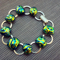Bracelet - Lava - Dichroic - Fused Glass Bracelet - Jewelry - Silver - Spring 2014 - Original - Green