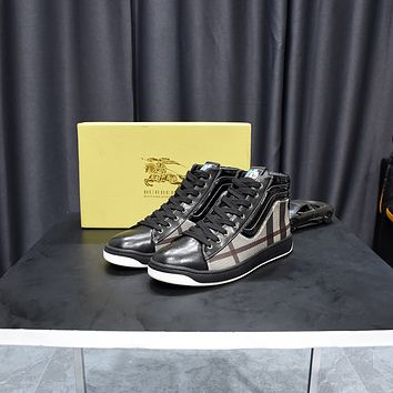 Burberry2021 Trending Women's men Leather Side Zip Lace-up Ankle Boots Shoes High Boots09190cx