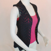 Black Lace Vest Cardigan, Crochet Sleeveless Chevron Top, Summer Women Fashion Piece