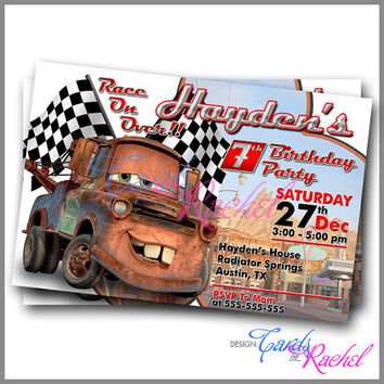 Tow Mater Cars Movie - Invitation Card Design For Birthday Party Kid