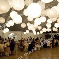 Perfectmaze 12 Piece Set 8 Inch White Round Chinese Paper Lantern with Led for Wedding Party Engagement Decoration