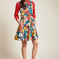Hour by Flower A-Line Dress in Retro Blossom