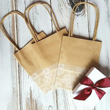 ADD ON ITEM - White Lace Printed Gift Bags